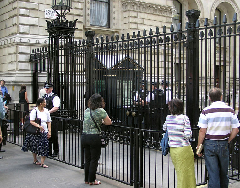 The gates at the entrance to Downing Street